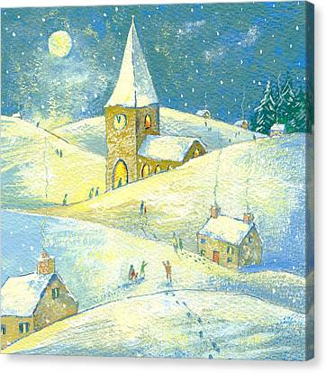 Snowy Night Night Canvas Print - The Village Carol Service by David Cooke