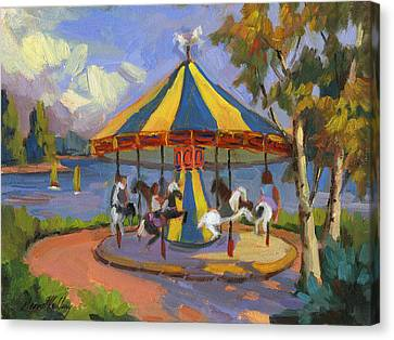 The Village Carousel At Lake Arrowhead Canvas Print by Diane McClary