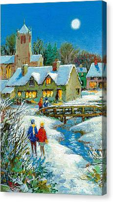 The Village In Winter Canvas Print by Stanley Cooke