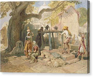 The Village Welll, From India Ancient Canvas Print by William 'Crimea' Simpson