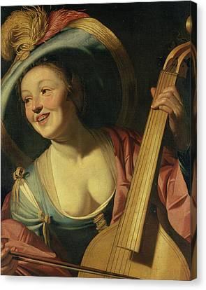 Decolletage Canvas Print - The Viola Da Gamba Player by Dutch School