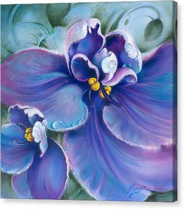 Canvas Print featuring the painting The Violet by Anna Ewa Miarczynska