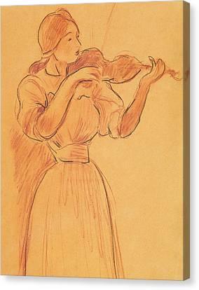 The Violin Canvas Print by Berthe Morisot