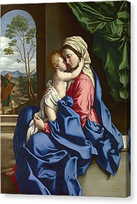 The Virgin And Child Embracing Canvas Print by Sassoferrato