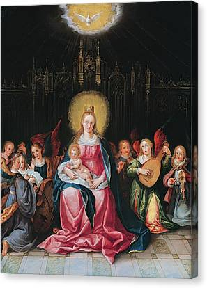 The Virgin And Child Surrounded Canvas Print by Cornelis de I Baellieur