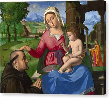 Jesus With A Child Canvas Print - The Virgin And Child With A Supplicant by Andrea Previtali
