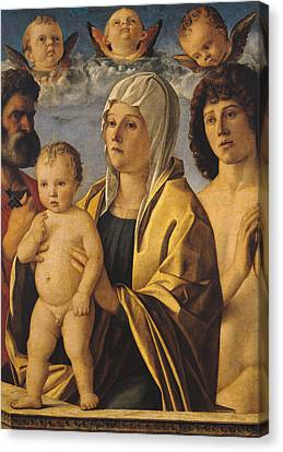 The Virgin And Child With St Peter And St Sebastian Canvas Print by Giovanni Bellini
