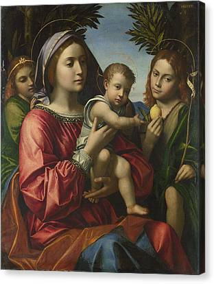 The Virgin And Child With The Baptist And An Angel Canvas Print by Paolo Morando