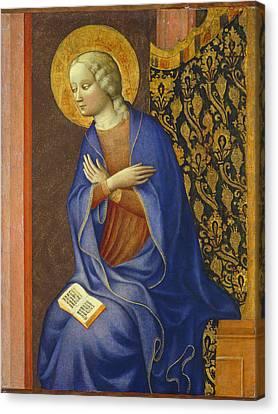 The Virgin Annunciate Canvas Print by Tommaso Masolino da Panicale