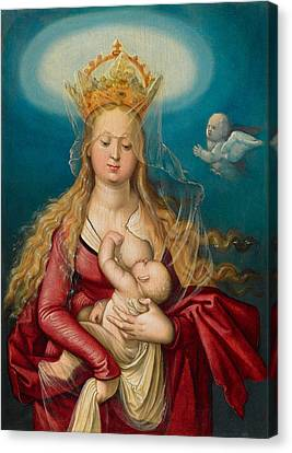 The Virgin As Queen Of Heaven Suckling The Infant Christ Canvas Print by Hans Baldung Grien