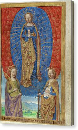 The Virgin In A Cloud Of Angels, With Saints Barbara Canvas Print