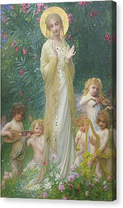 The Virgin In Paradise Canvas Print by Antoine Auguste Ernest Herbert