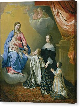 The Virgin Mary Gives The Crown And Sceptre To Louis Xiv, 1643  Canvas Print by Philippe de Champaigne
