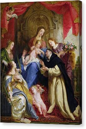The Virgin Offering The Rosary To St. Dominic Canvas Print by Gaspar de Crayer