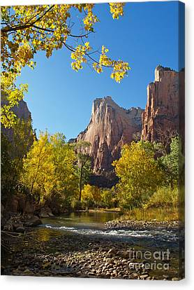 The Virgin River And The Court Of The Patriarchs Canvas Print by Alex Cassels