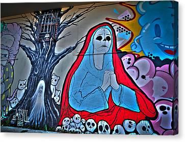 Graffiti Canvas Print - The Virgin Skeleton Adoring by Andres Leon