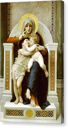 The Virgin The Baby Jesus And Saint John The Baptist Canvas Print by William Bouguereau