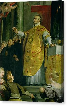 The Vision Of St. Ignatius Of Loyola C.1491-1556 Detail Of The Saint, 1617-18 Oil On Canvas Canvas Print by Peter Paul Rubens