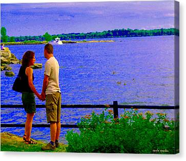 The Vow Lovers Forever By The Lake Summer Romance St Lawrence Shoreline Scenes Carole Spandau Art Canvas Print by Carole Spandau