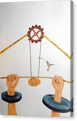The Vulnerable Part Of Mechanisms Canvas Print by Lazaro Hurtado