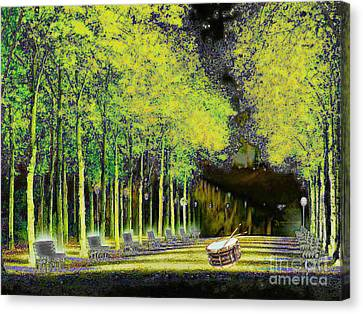 Canvas Print featuring the digital art The Waiting Drum by Mojo Mendiola