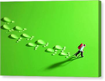 The Walker And Footprints Little People Big World Canvas Print by Paul Ge