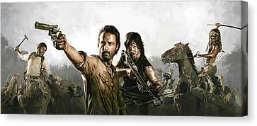 Movie Art Canvas Print - The Walking Dead Artwork 1 by Sheraz A