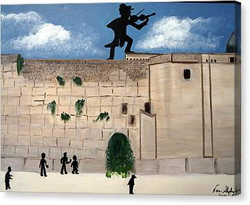 Canvas Print featuring the painting The  Western Wall And Fiddler On The Roof by Nora Shepley