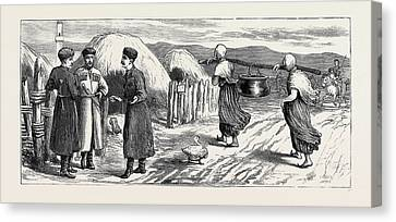 The War In The East A Tcherkess Or Circassian Village Canvas Print by English School