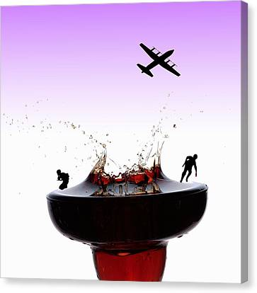 The War On A Cocktail Cup Little People On Food Canvas Print by Paul Ge