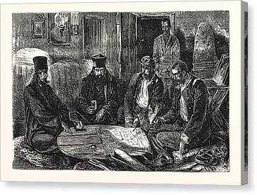 The War, Servian Staff Officers And Monks Holding A Council Canvas Print by English School
