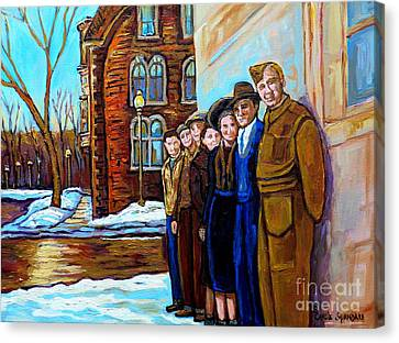 Montreal Winter Scenes Canvas Print - The War Years 1942 Montreal St Mathieu And De Maisonneuve Street Scene Canadian Art Carole Spandau by Carole Spandau