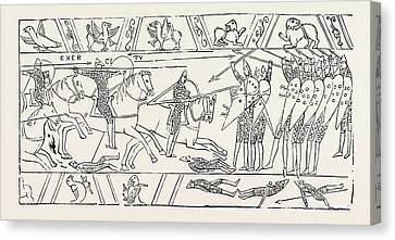 The Warriors Of Hastings From The Bayeux Tapestry Canvas Print by English School