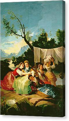 Tapestries - Textiles Canvas Print - The Washerwomen, Before 1780 Oil On Canvas by Francisco Jose de Goya y Lucientes