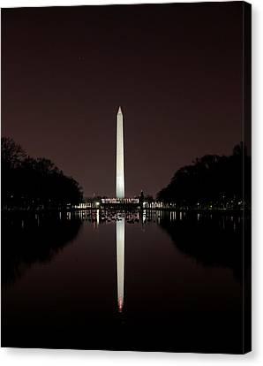 The Washington Monument - Reflections At Night Canvas Print