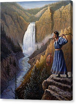 The Water Carrier Yellowstone Canvas Print by Gregory Perillo