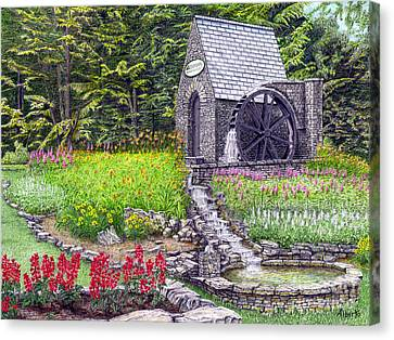 The Water Wheel At Seven Springs Mountain Resort Canvas Print by Albert Puskaric