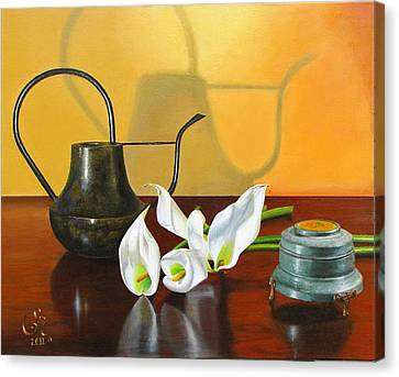 Canvas Print featuring the painting The Watering Can by Glenn Beasley