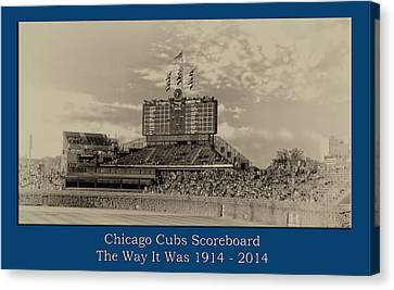 The Way It Was Chicago Cubs Scoreboard Heirloom Canvas Print by Thomas Woolworth