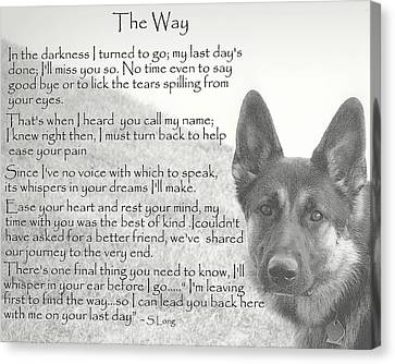 German Shepherd Canvas Print - The Way by Sue Long