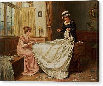 Betrothed Canvas Print - The Wedding Dress by George Goodwin Kilburne