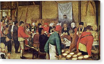 Pouring Wine Canvas Print - The Wedding Supper by Pieter the Younger Brueghel
