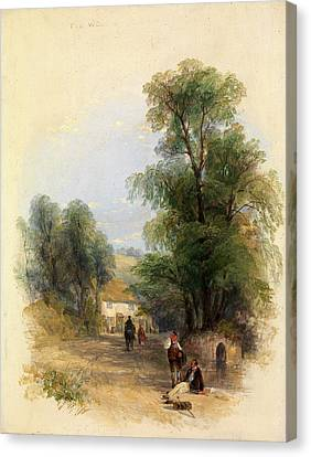 The Well Of St. Keyne, Thomas Creswick, 1811-1869 Canvas Print by Litz Collection