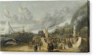 The Whale-oil Refinery Near The Village Of Smerenburg Canvas Print by Litz Collection