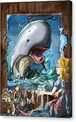Canvas Print featuring the painting The Whale by Reynold Jay