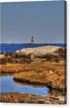 New England Lighthouse Canvas Print - The Whaleback Lighthouse by Joann Vitali