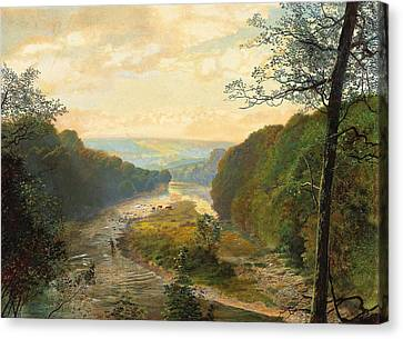 The Wharfe Valley With Barden Tower Beyond Canvas Print by John Atkinson Grimshaw