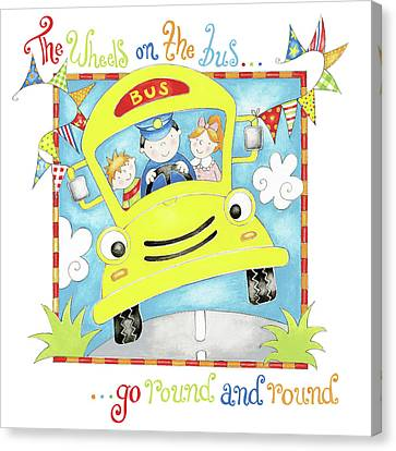 The Wheels On The Bus Canvas Print by P.s. Art Studios