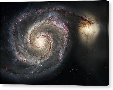Heavens Canvas Print - The Whirlpool Galaxy M51 And Companion by Adam Romanowicz