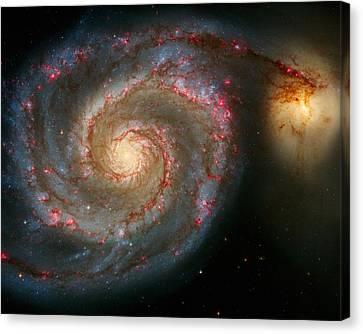 The Whirlpool Galaxy M51 And Companion Canvas Print by Don Hammond